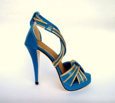 Blue and gold sugar stiletto