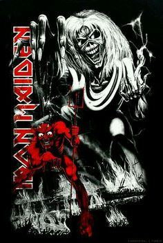Iron Maiden - Number of the Beast Heavy Metal Rock, Heavy Metal Music, Heavy Metal Bands, Iron Maiden Album Covers, Iron Maiden Albums, Woodstock, Iron Maiden Powerslave, Rock Bands, Iron Maiden Posters