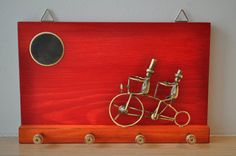 Wooden key organiser  bronze cyclists metal sculpture on by Akatos, $66.50