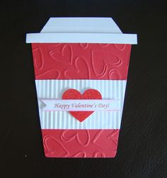 Stampin Up All Occasion Handmade Pocket Card - Valentine, Anniversary, Giftcard Valentine Love Cards, My Funny Valentine, Valentine Coffee, Scrapbooking, Scrapbook Cards, Coffee Cards, Shaped Cards, Pocket Cards, Creative Cards