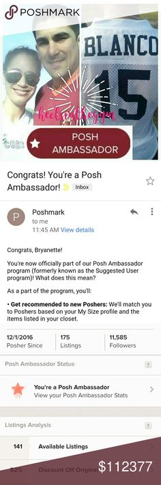 I'm a Posh Ambassador!!! I want to thank each and every one of my pff's for sharing my stuff, tagging me, guiding me with patience, love, support and kindness! My stats say I started December 2016, but back then I only posted a couple of items and left. I was not officially active here until August. Since then, I've met some amazing ladies and appreciate you all. Thank you all for making my birthday wish come true!! Bry Blanco Other