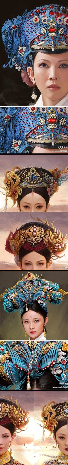"# Qing Dynasty Imperial headdresses by Boyan Chen - Inspired by the Chinese TV drama ""The Legend of Zhen Huan"" (后宫甄嬛传), which is itself adapted from a novel based upon the life of Qing Empress Xiaoshengxian (1693-1777)"