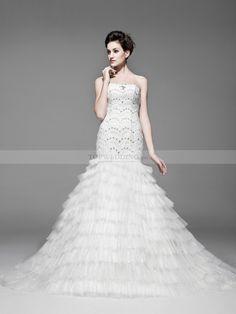 Yessenya - Strapless lentejuela corte sirena vestido de novia de tul con satin y tul