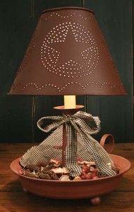 primitive lamp pictures   Primitive Red Dish Lamp