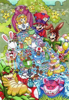 Mario in Wonderland  Super Mario Fan Art by ArtOfAnastasiaCatris, £5.00