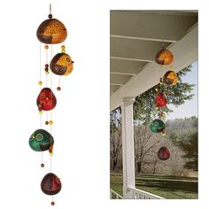 Our handcrafted wind chime keeps it owl in the family. What were once gourds are now an adorable brood of rotund birds, created and hand painted by Peruvian artisans. Hoo can't wait for the wind to pick up?