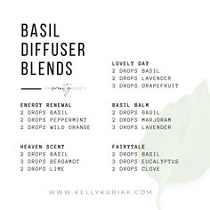 Diffuser Blends using Basil Essential Oil