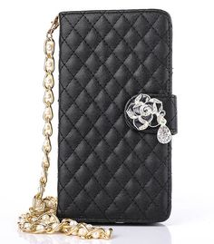 Lambskin Long Pearl Chain Camellia Pendant iPhone 6S Plus/6 Plus/6S/6/SE/5S/5 Samsung S7 Edge/S7S6/S6 Edge/S5/S4/S3/Note 5/Note 4 Side Open Wallet Stand PU Leather Case