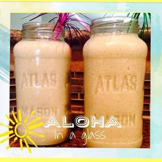Aloha in a Glass.... compliments of my friend LB  8oz almond milk tbsp chia seed 1/2 banana  1cup pineapple scoop vanilla JP complete  small handful of leafy greens dash coconut extract ice