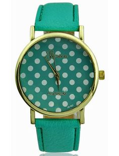 """A pois"" will give your image a nice touch. Polka-dotted ladies' watch, available in different colours: yellow, green, light blue and red."
