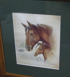 Equine Lithograph Race Horse I Print ,Gorgeous Mare and Foal, Rustic Lodge Decor, Artist Ruane Manning