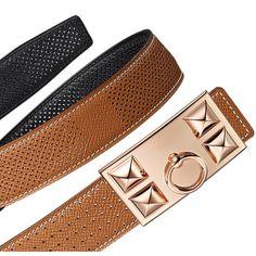 Hermès   Women's reversible leather belt strap in gold/black Epsom calfskin (width: 32 mm) Ref. H068539CAAC080 & Women's buckle in rose gold-plated metal (width: 32) Ref. H064543CDZ2   €675.00