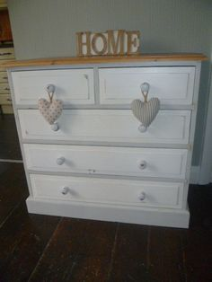 Solid Pine Chest of Drawers up-cycled in 'Chalk White' & 'Winter Grey' Chalk Paint - Shabby Chic! *Collection Only* by SunflowerLou on Etsy Shabby Chic Bedrooms, Bedroom Furniture Makeover, Shabby Chic Furniture Diy, Furniture Makeover, White Shabby Chic, Shabby Chic Decor, Cheap Bedroom Furniture, Pine Chests, Recycled Furniture
