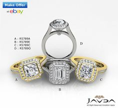 A: 1.5ct Asscher Diamond Engagement Halo Pave Ring 14K Yellow Gold I VS2 Clarity GIA. B: Exquisite Emerald Diamond Halo Engagement Ring GIA F VS2 14k White Gold 1.5 ct. C: Halo Pave Bezel Cushion Diamond Engagement Ring GIA G VS2 14k Yellow Gold 1.5 ct. D: 1.5 ct Brilliant Cut Oval Diamond Engagement 14k White Gold I SI1 GIA Halo Ring.