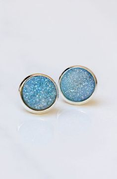Sparkling Blue Natural Druzy Stud Earrings