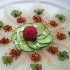 Nobu's fluke sashimi with dried red miso. Bursting with flavor with every bite.