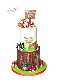 call or email to order your celebration cake. Welcome Baby Boys, Cupcake Wars, Woodland Baby, Woodland Creatures, Cakes And More, Custom Cakes, Baby Shower Cakes, Cake Art, Models
