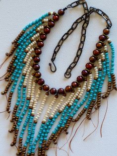 Native American becklace in turquoise gold by MontanaTreasuresbyMJ