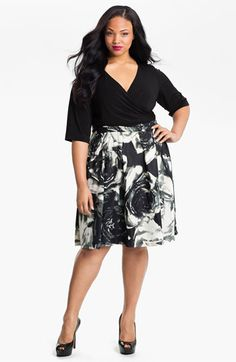 Donna Ricco Mock Two Piece Surplice Dress (Plus) available at #Nordstrom