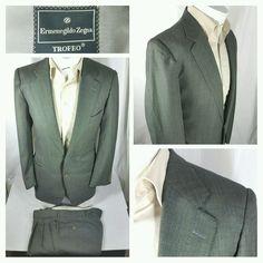 Ermenegildo Zegna TROFEO 2 button wool suit size 42R green made in Italy #ErmenegildoZegna #TwoButton