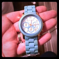Michael Kors watch. Never been used! Women's watch. Never been used. Has been sitting in my closet. Needs a new battery that's it. Blue color. Extra links included. KORS Michael Kors Other