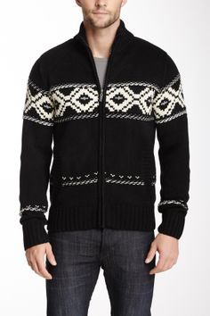 Men's black knit zip up sweater with white design