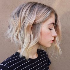 Blonde Textured A-Line Bob Beachy waves making are easier with 3 barrel curling iron