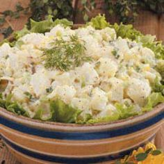Dill Pickle Potato Salad. I'm very picky about potato salad, probably cause I don't like potatoes. I didn't measure anything, just eyeballed. Used extra pickle juice & pickles from taste testing, and it is delicious! Seriously will make again. Might add some red bell peppers for taste and color.