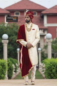 dulha junction) Wedding Sherwani in Ahmedabad Sherwani For Men Wedding, Wedding Dresses Men Indian, Sherwani Groom, Asian Wedding Dress, Indian Bridal Outfits, Wedding Men, Mens Sherwani, Punjabi Wedding, Indian Weddings