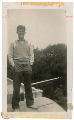 JFK atop the roof of the Kennedy estate in Palm Beach, Florida, in 1935