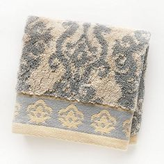 Luxurious Absorbent Border Jacquard Wash Towel 100 Terry Cotton 13 X 13 Luminary Collection Beige Grey  By Waverly * Details can be found by clicking on the image.