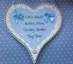 Hand made and hand written heart new baby plaque