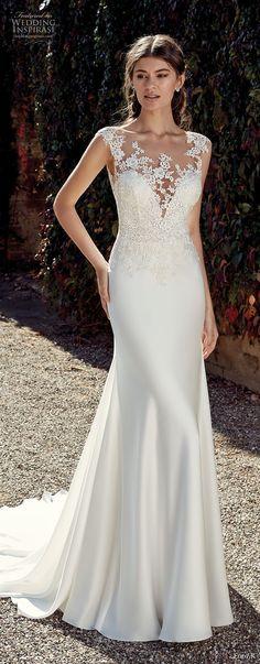 eddy k 2019 ek cap sleeves illusion bateau sweetheart neckline heavily embellished bodice elegant sheath wedding dress chapel train (29) mv -- Eddy K. 2019 Wedding Dresses