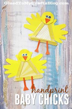 Handprint Popsicle Stick baby Chicks - Kid Craft Idea perfect for spring or Easter!