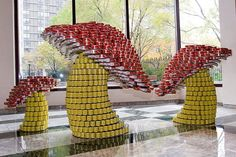 Canstruction-Mushrooms-New-York  Made from food cans