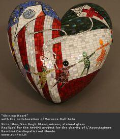 Shining Heart #mosaic #art piece using #Sicis tiles. <3