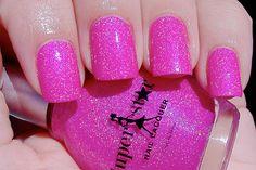 Pink nails.