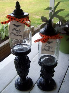 And I made these from pickle jars and candle holders that I painted black..just used hot glue, was very easy but they smell like pickles :/