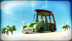 SurfMobile by Martin GuldbaekThis is Charlie's Surf Mobile. This image was made as part of a style exploration for a children's book. Everything is textured using Modos procedural textures. The post work was done in Filter Forge. Childrens Books, Storytelling, Surfing, Texture, Toys, Artwork, Filter, Image, Style