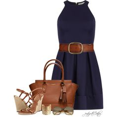 That purse! Those wedges! Yummy. Navy dress with endless possibilities...be creative my little chick a dees:)