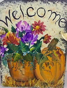 Slate Welcome Signs | Personalized SLATE WELCOME SIGN PUMPKIN, mums, autumn, FALL halloween ...