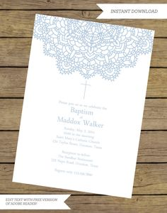 Printable Instant Download Baptism by InstantPartyPlanner on Etsy