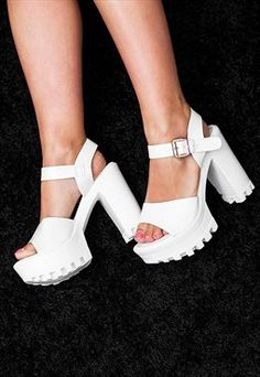 LUST Heeled Cleated Sole Platform Sandal Shoes - White