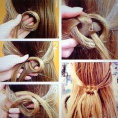 Braided Celtic Hair Knot~a do but with my hair a don't. Ombré Hair, Hair Day, Curly Hair, Grow Hair, Celtic Hair, Hair Knot, Knot Braid, Loop Knot, Hair Tutorials