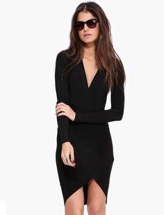 #SALE Black Long Sleeve V Neck Split Dress Shop the #SALE at #Sheinside