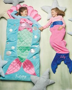 Personalized Mermaid Sleep Sack - exclusively ours - What a splash she'll make at the next slumber party. Any water-loving girl becomes a mermaid the instant she slips into this plush sleep sack. Machine Wash.