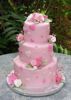 pink valentine/wedding cake?