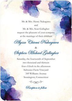 Soft Bougainvillea - Signature White Textured Wedding Invitations - Coloring Cricket - Majestic - Purple : Front