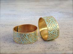 Ringe - ● floral mattgold Patina Messing Ring MINT - ein Designerstück von…