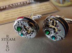 Gemelos cristal Swarovski verde Steampunk / Steamretro, joyería steampunk - Artesanio